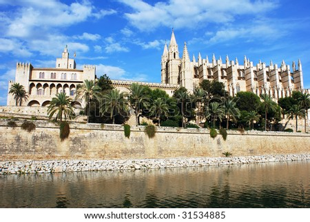 The view of Palma de Majorca town cathedral (Spain).
