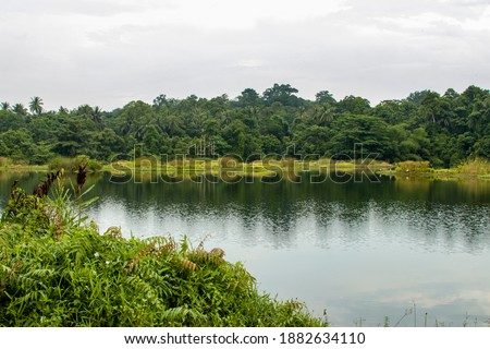 """the view of Pekan Quarry lake and rainforest in pulau ubin island Singapore.  The site had two quarry pits that """"merged"""" into one as the pits filled up with rainwater.  Zdjęcia stock ©"""