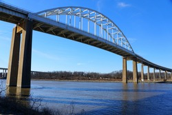The view of Saint Georges Bridge above the Chesapeake Canal near St Georges, Delaware, U.S.A