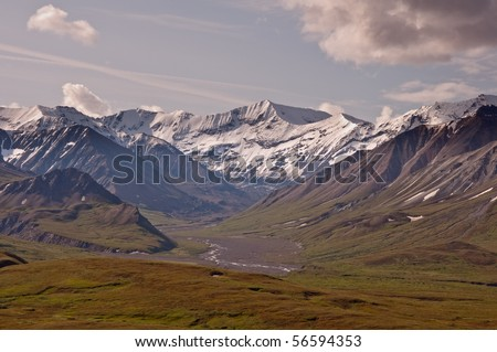 The view of Sunset Glacier to the South of Eileson Visitor Center in Denali National Park, Alaska.