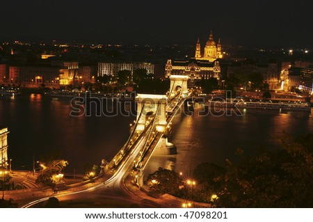 The view of the Chain Bridge over the river Danube in Budapest by night. Hungary.