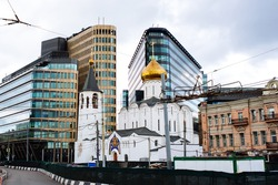The view of the church of St Nicholas and The White Square business centre in Moscow, Russia