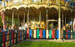 The view of the colorful merry-go-round
