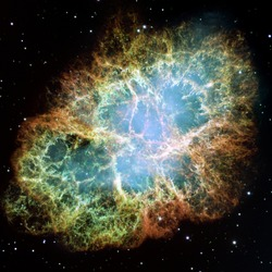 The view of the entire Crab Nebula. The Crab is among the most interesting and well studied objects in astronomy, Elements of this image are furnished by NASA.
