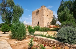 The view of the garden in front of the former Crusader stronghold - Kolossi Castle. Kolossi. Limassol District. Cyprus