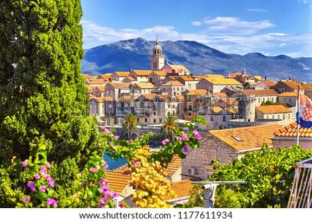 The view of the Korcula town, Korcula island, Dalmatia, Croatia