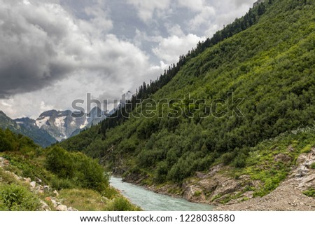 The view of the mountains of Dombai. The Caucasus - Russia