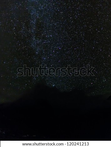 The view of the starry sky over the village of Thame - Everest region, Nepal