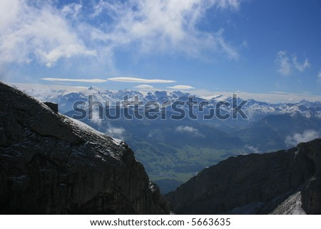 The view of the Swiss Alps from Mount Pilatus.
