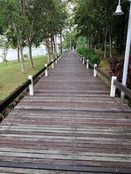 the view of wooden walking path at Presint 10 Putrajaya,Malaysia