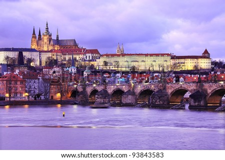 The View on Prague gothic Castle with Charles Bridge after Sunset, Czech Republic