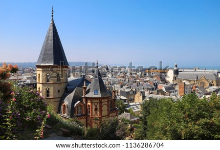 The view on roofs of Trouville city in Normandy, France.