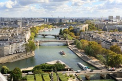 The view on Seine river from tower of the Notre-Dame de Paris