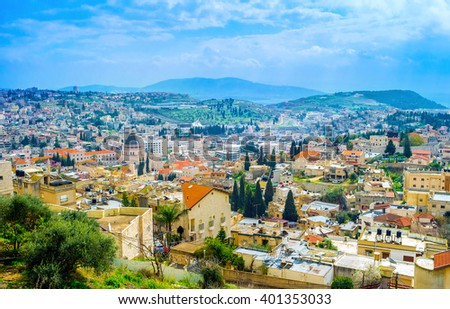 The view on the old Nazareth from the top of the hill, Israel.