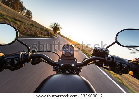 The view over the handlebars of motorcycle #335609012