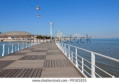 The view to the embankment of the Parque das Nacoes - Lisboa, Portugal