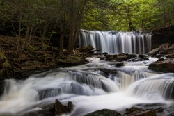 The view to the Oneida Falls, one of 24 named waterfalls in Ricketts Glen State Park in Pennsylvania, United states