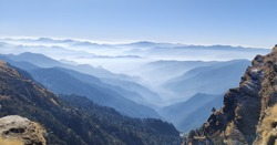 The view you see when you go for trek to Chopta, Uttarakhand. Chopta is a beautiful hill station and a tourist spot. It offers you the best views, plenty of snowfalls and a view of gigantic Himalayas.
