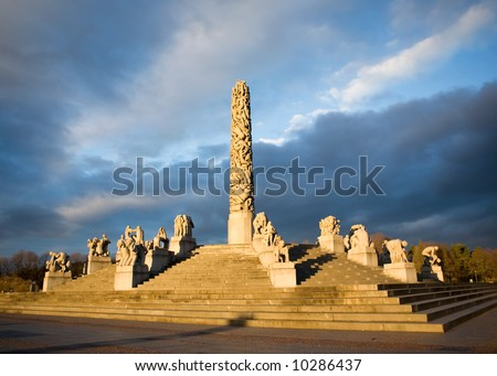The vigeland sculpture park in Oslo, Norway