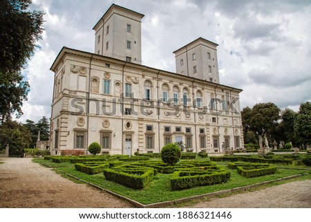 The Villa Borghese park is one of the most popular gardens in Rome. In the park of Villa Borghese is the famous Galleria Borghese with all your art treasures, Rome, Italy Foto d'archivio ©