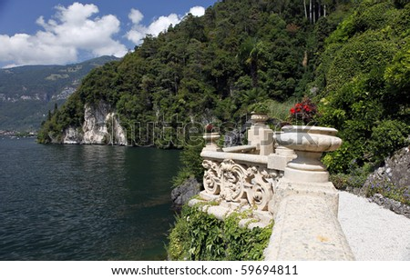 The Villa del Balbianello is a villa in the comune of Lenno, Italy, overlooking Lake Como. It is located on the tip of a small wooded peninsula on the western shore of Lake Como.