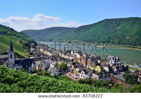 "The village ""Assmannshausen"" Rhine river valley, Germany"