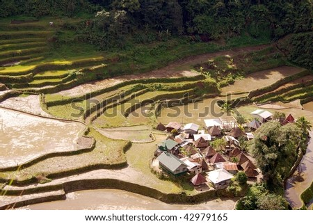 The village Ban-an among the rice terraces in the Philippines