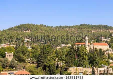 The village Ein Kerem , with belfry of John the Baptist, Jerusalem, Israel