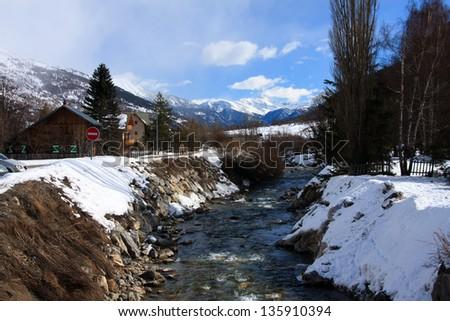 The village in French Alps - Le Monetier Les-Bains, Serre-Chevalier, France Zdjęcia stock ©