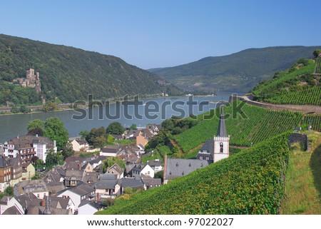the Village of Assmannshausen near Ruedesheim,River Rhine,Germany - stock photo