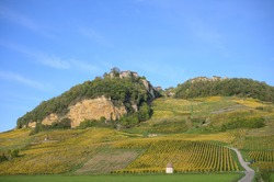 The village of Chateau Chalon high above the vineyards in the  departement of Jura, Franche-Comte, France