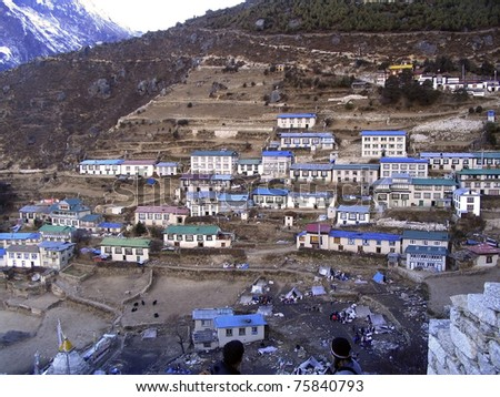 The village of Namche Bazaar along the trail to Mt Everest