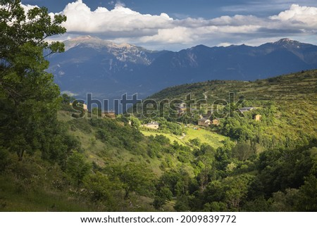 The Village of Orden in Cerdanya with Cadi Range on the Background; Catalan Pyrenees Zdjęcia stock ©