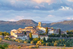 The village of Radda in Chianti at sunset, province of Siena, Tuscany, Italy.