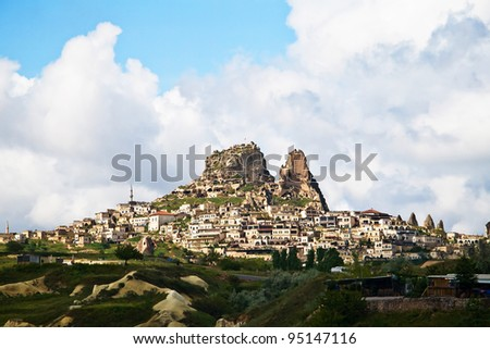 The village of Uchisar near Goreme in Cappadocia, Turkey.