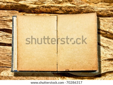 The Vintage blank book  isolated on wood background