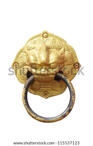 The Vintage knocker of golden lion isolated on white background