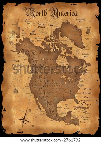 The vintage map of North America