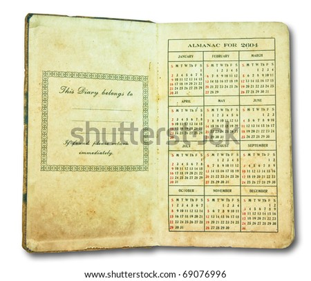 The Vintage open diary ALMANAC FOR 2604 isolated on white background