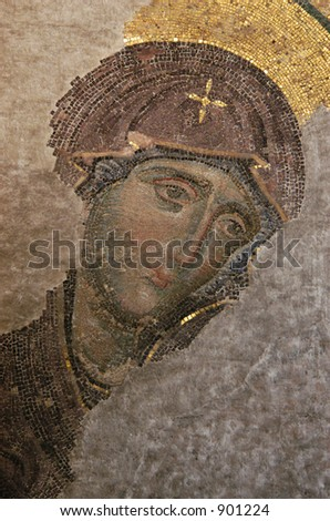 The Virgin, Byzantine mosaic in the interior of Hagia Sophia in Istanbul, Turkey