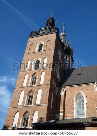 the Virgin Mary Basilica - Krakow, Poland . The Church of the Assumption  of the Virgin Mary