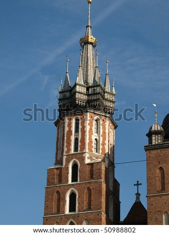the Virgin Mary Basilica - Krakow, Poland . The Church of the Assumption  of the Virgin Mary