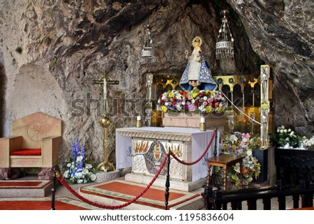 The Virgin of Covadonga on her altar, in Asturias. - Shutterstock ID 1195836604