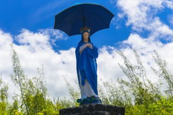 The Virgin with the Parasol statue from Reunion Island before it was moved to the Notre Dame des Laves church