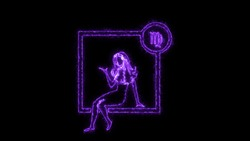 The Virgo zodiac symbol, horoscope sign lighting effect purple neon glow. Royalty high-quality free stock of Virgo signs isolated on black background. Horoscope, astrology icons with simple style