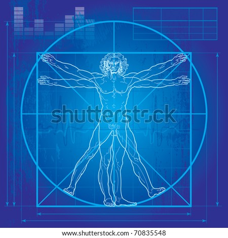 The Vitruvian man Blueprint version Detailed drawing based on artwork by Leonardo da Vinci.