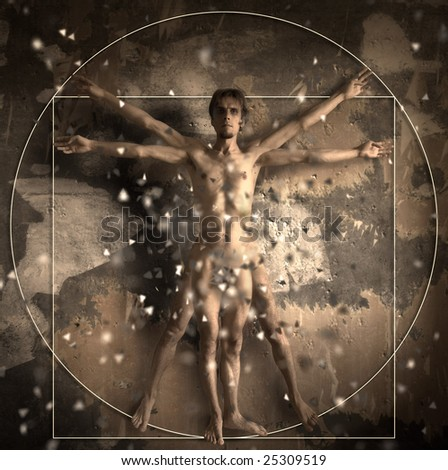 The Vitruvian man. Photo on the basis of artwork by Leonardo da Vinci