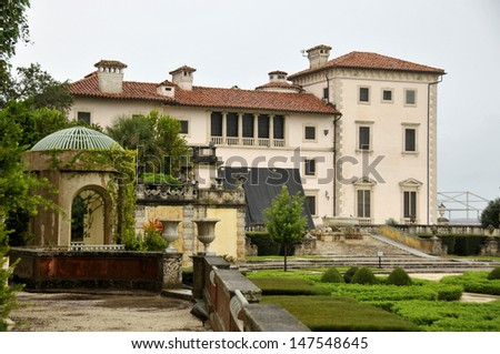 The Vizcaya Museum and Gardens, is the former villa and estate of businessman James Deering, of the Deering McCormick-Internati onal Harvester fortune, on Biscayne Bay in Coconut Grove, Miami, Florida