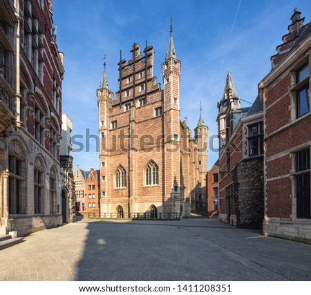 The Vleeshuis building - in the Middle Ages was a meat market as well as a guildhall. Atnwerp, Belgium.