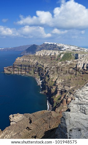 The volcanic caldera and Fira city at Santorini island in Greece